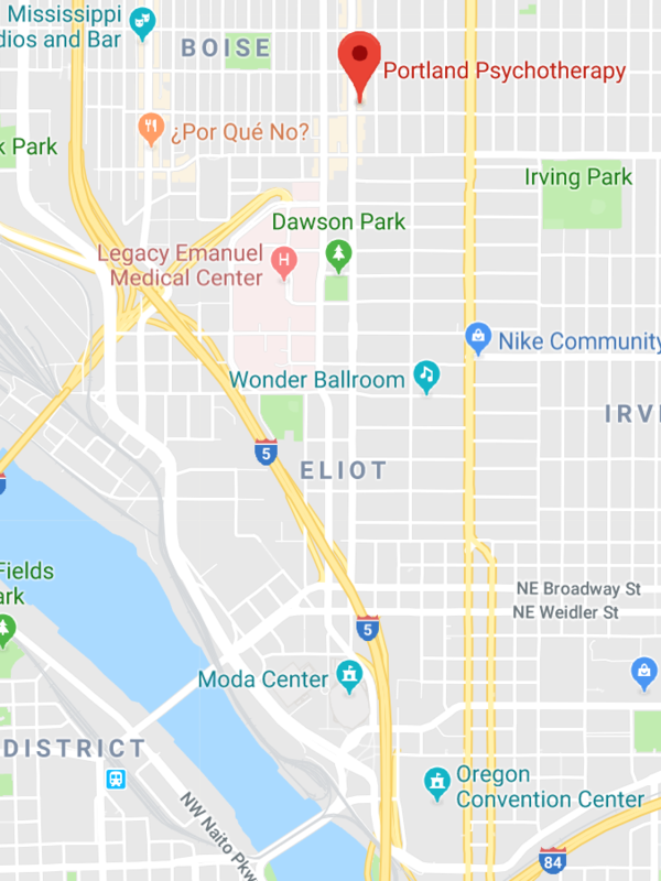 Map to Portland Psychotherapy Clinic
